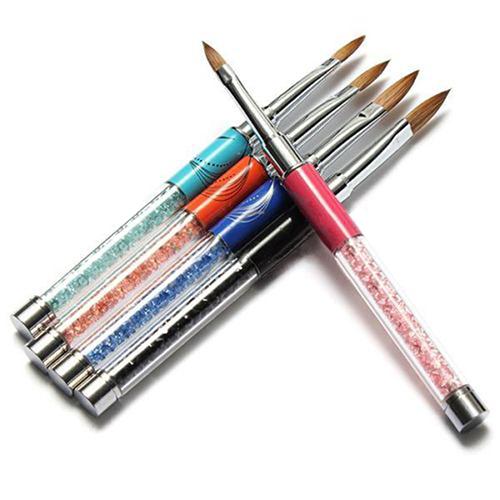 1PC New Nail Tools Pro Carve Marble Nylon UV Gel Acrylic Nail Art Tips Pen Painting Drawing Brush 5 Colors 685T(China (Mainland))