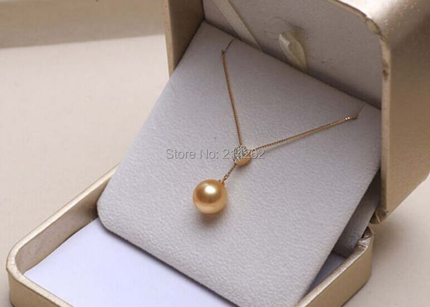 AAAA 11 - 12mm round 18K yellow gold natural Yellow Nanyang seawater pearl necklace pendant F51#<br><br>Aliexpress