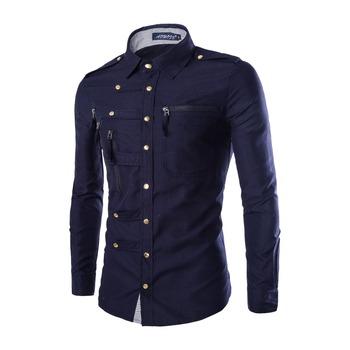 2015 New Autumn Winter England Style Multi Zipper Shirt Men Casual Solid Cotton Camisa Slim Fit Social Blouse Plus Size M-2XL