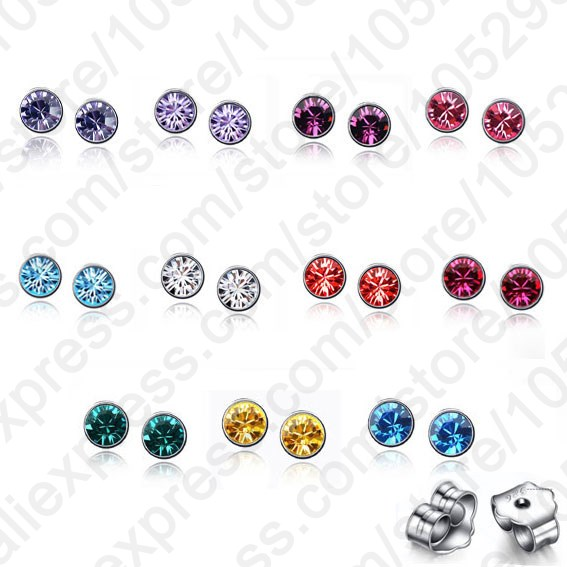Гаджет  Wholesale Lots 20PCS(10Pairs) 925 Sterling Silver AAA Colorful Crystal Stone Woman Stud Earrings +Back Stoppers Women Jewelry None Ювелирные изделия и часы
