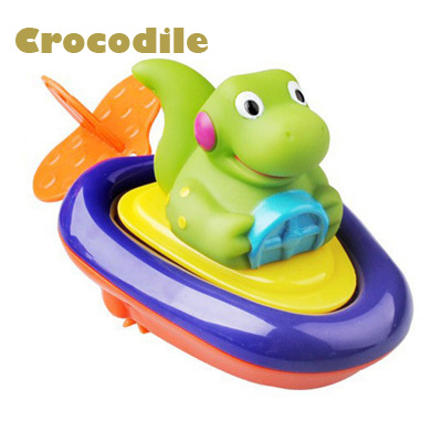 Funy Baby Bath toys Children play in the water swimming boat Colorful Clockwork rope toys wheel 2016 Newest(China (Mainland))