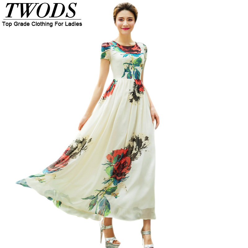 Twods Good Quality Chiffon Flowers Women Summer Dress Short Sleeve O-neck Slim Cut Flare Bohemian Beach Dresses Plus Size 4XL