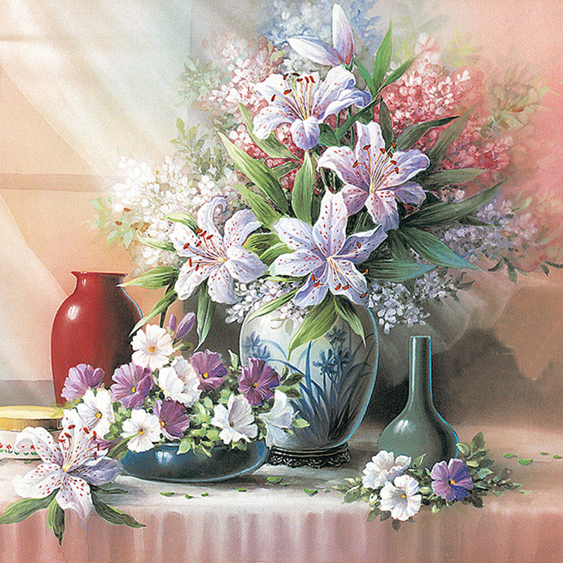 Floral Vase 5D Diy Diamond Painting Full Drill Mosaic Rhinestone Flower Lily Pasted Embroidery Cross Stitch Peony Needlework(China (Mainland))