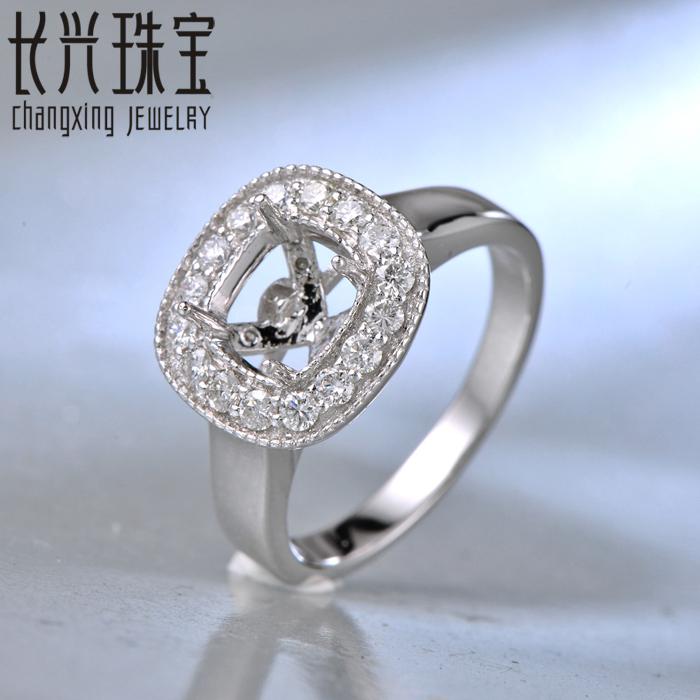 14K WHITE GOLD DIAMOND SEMI MOUNT ENGAGEMENT WEDDING RING SETTING Square 6.5x6MM<br><br>Aliexpress