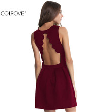COLROVE Famous Brand 2016 New Style Summer Dress Sexy Girls Sleeveless Open Scallop Pleated Elegant Women Above Knee Dress(China (Mainland))