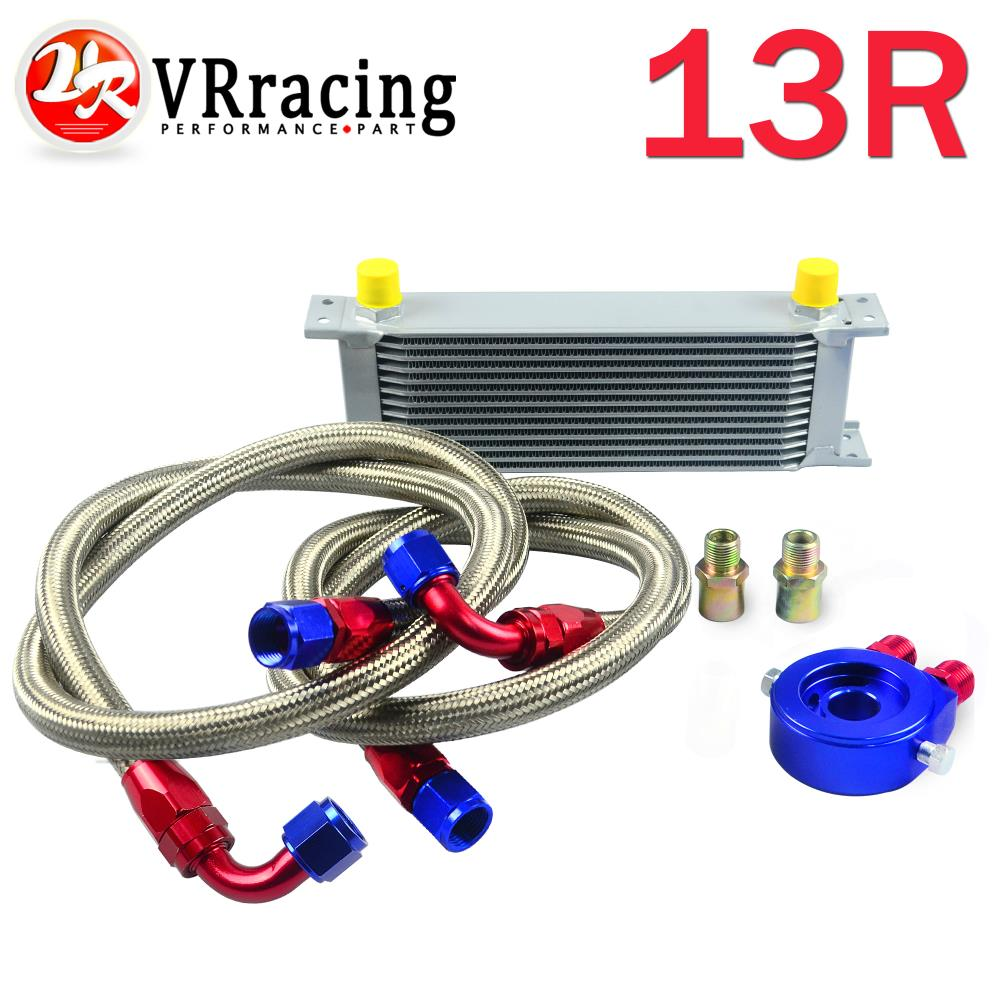VR RACING-AN10 OIL COOLER KIT 13ROWS TRANSMISSION OIL COOLER SILVER+OIL FILTER  ADAPTER BLUE + STAINLESS STEEL BRAIDED HOSE