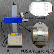 SYNRAD 30W CO2 laser marking machine for plastic bags and clothes buttons