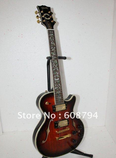 Wholesale very beautiful custom shop Les Maroon stripe black edge classic Flower fingerboard Hollow electric guitar Free shippin
