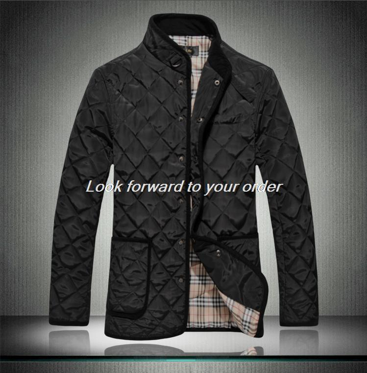 2014 Autumn and winter plaid slim stand collar men s clothing wadded cotton padded jackets men