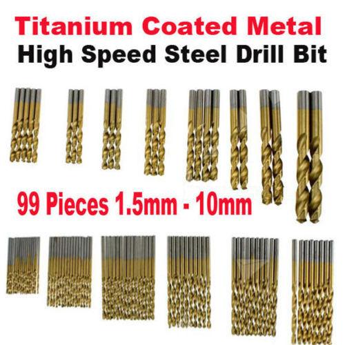 1.5mm - 10mm 99 Pieces/set Titanium Coated HSS High Speed Steel Drill Bit Tool <br><br>Aliexpress