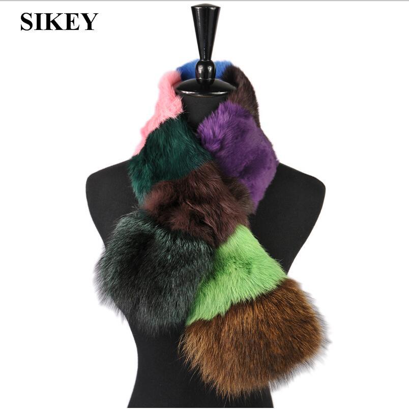 SCF021 Free shipping 100% real genuine rabbit fur and raccon fur scarf women's winter warmer scarfs(China (Mainland))