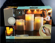 20Lots 3pcs/lot Pillar Candles With Remote Control
