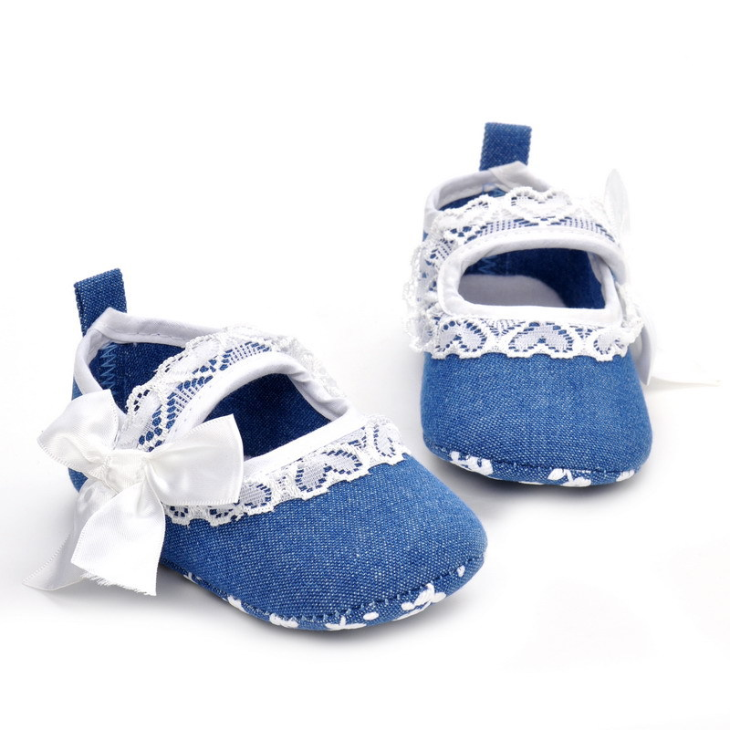 Leisure Baby Shoes Crib Girls Soft Sole Newborn Prewalkers Lace Bow Infant Shoes Blue Denim Baby Footwear SS06(China (Mainland))