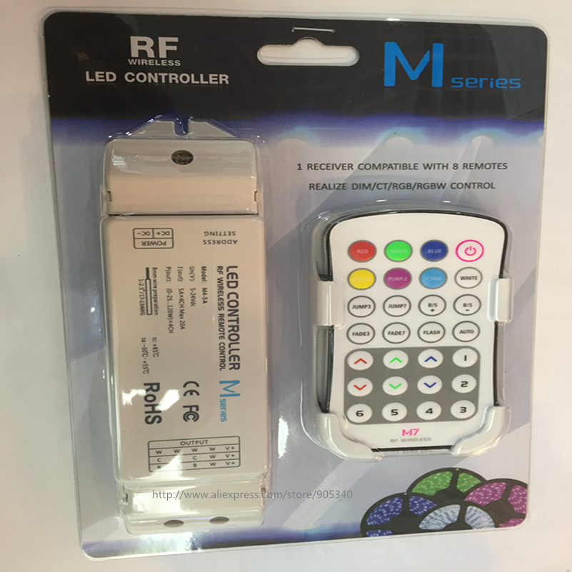 M7+M4-5A rgb led controller rf M7 touch remote with M 4 5A Receiver controller,5A*4CH Max 20A output mini rf rgb led controller<br><br>Aliexpress