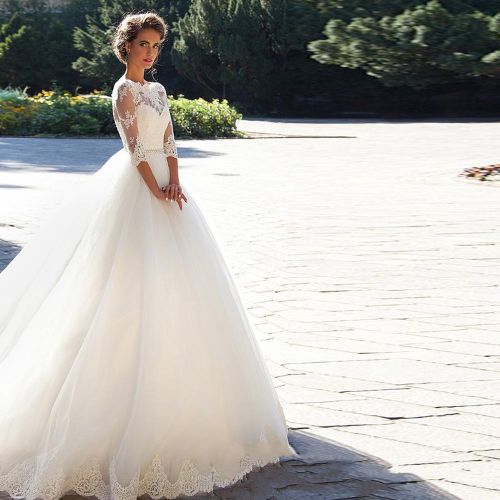 Длинные Кружева Sexy Свадебные Dresseses С Бисером Пояса Бальное платье Три Четверти Рукава Элегантные Свадебные Платья На Заказ