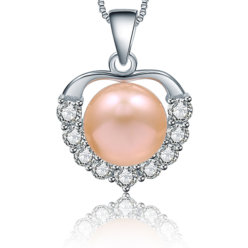 Fine Jewelry Pendant 10-10.5mm Natural Apple White /Pink /Purple/Black Freshwater Pearl 925 Silver Pendant Necklaces For Women(China (Mainland))