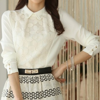 2014 new autumn lace bow doll collar long sleeve shirt blouse lace pattern feminine guipure lace puff sleeve blouse lace tops