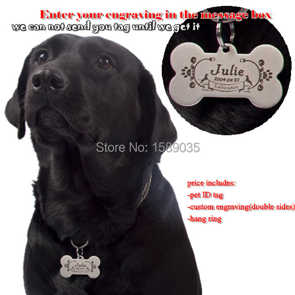dog tag solid stainless steel dog ID tag dog collars & leads custom double sides laser engraving bone shaped w/hang ring(China (Mainland))