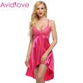 Avidlove Ladies Sexy Satin Night Dress Lace Women Sleepwear Sleeveless Nighties V neck Nightdress Sexy Nightgown