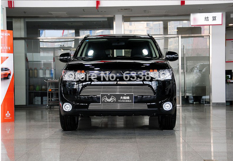High quality stainless steel Front Grille Around Trim Racing Grills Trim For 2013-2015 Mitsubishi Outlander