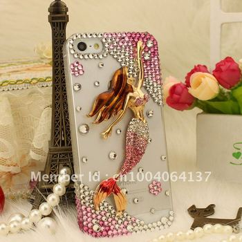 new arrival/phone Case Cover for iphone 5/5G,fashion elegant caystal bling rhinestone pearl,luxury mermaid fish/Free shipping