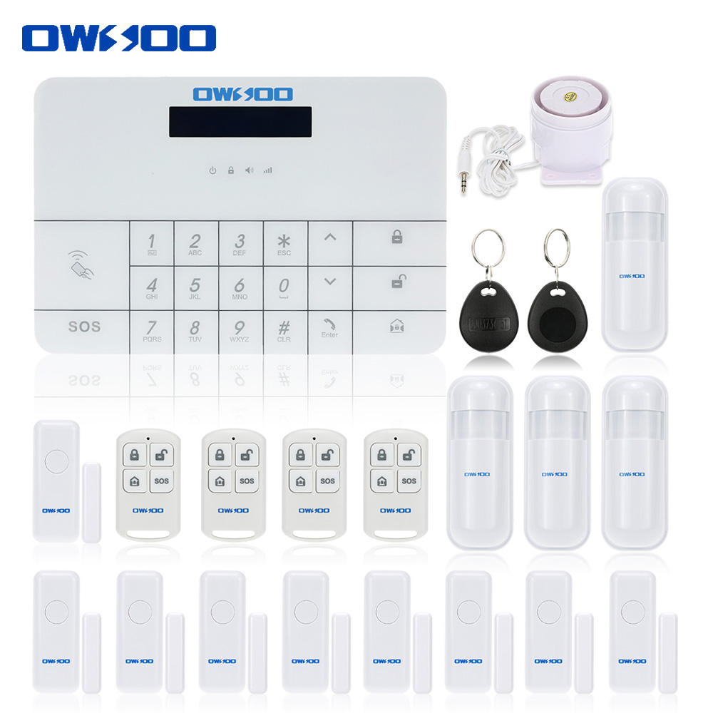 OWSOO Newest Wireless GSM&SMS Alarm House Security Burglar Intruder System Remote Control by APP&SMS Alarm System Auto Dialer(China (Mainland))