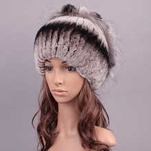 Sale 2015 winter beanies cap fur hat for women knitted rex rabbit fur hat with fox fur flower top free size casual women's hats