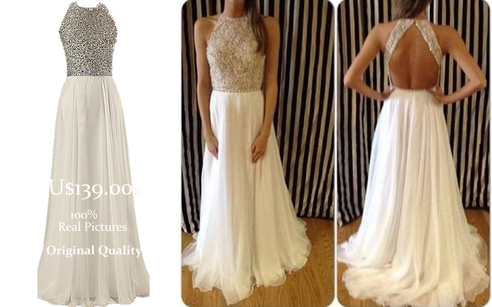 Free Shipping! 2014 Elegant High Neck Prom Dress Sale Women Open Back Evening Gowns with Beads and Crystals F&M719(China (Mainland))