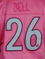 woman's 7 Ben Roethlisberger 43 Troy Polamalu 84 Antonio Brown 26 LE'VEON BELL pink Love of zebra jerseys(China (Mainland))