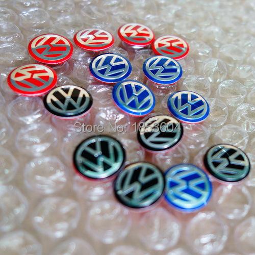 500pcs 3D VW blue/black/red Key Fob Aluminum Badge Emblem Sticker Car Styling 14mm 11mm Volkswagen(China (Mainland))