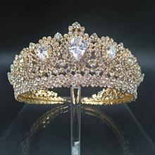 Hadiyana nouvelle couronne de mariage Bling diadème diadème avec cristal de zircone élégant femme diadèmes et couronnes pour la fête de reconstitution historique BC3232(China)