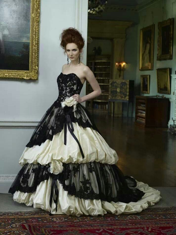 Online Buy Wholesale gothic wedding dress black and white from ...