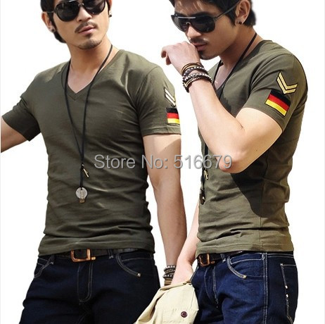 2015 fashion men's short sleeve v neck T shirts male slim fit casual embroidery epaulet army military plus size tops 3XL 4XL 5XL