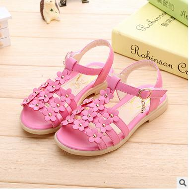 Free shipping Summer kids font b shoes b font new 2016 girls sandals girl flower font