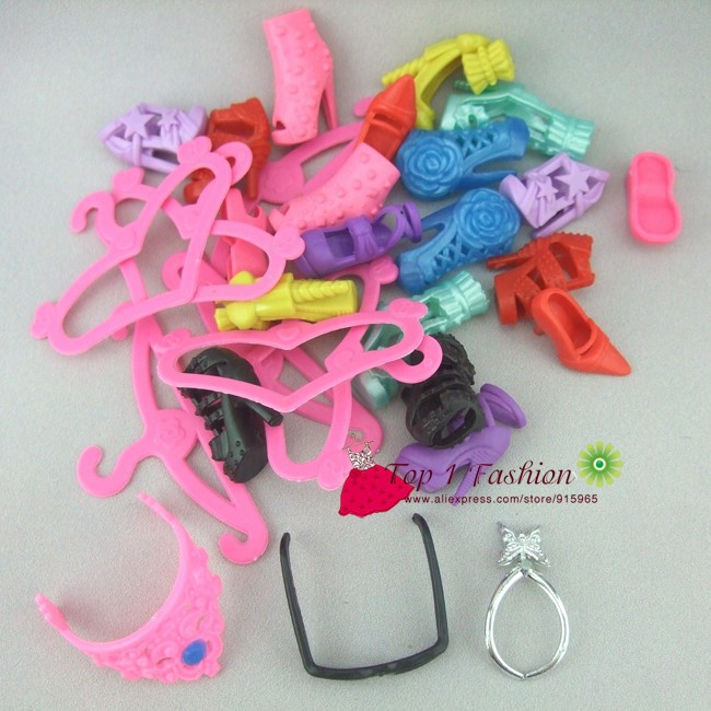 Free delivery 20objects/set combined accent set footwear crown glasses necklace headhood hangers reward set for barbie doll