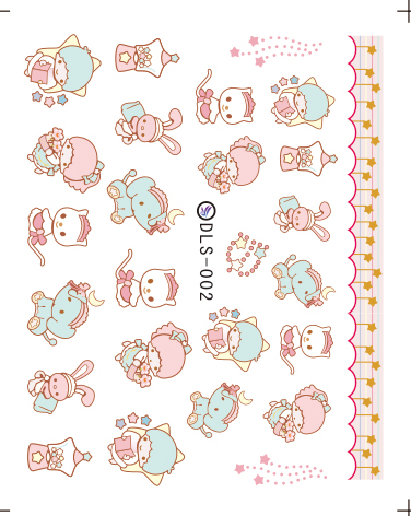 Water Transfer Nail Foil Sticker Art Paiting Harajuku Cute Cartoon Cat Elephant Nail Wraps Sticker 2D Manicure Decor Decals(China (Mainland))