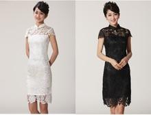 Free Shipping Fashion Chinese Women's Lace Embroidery Cheong-sam Mini Qipao Dress Flower S M L XL XXL 2365