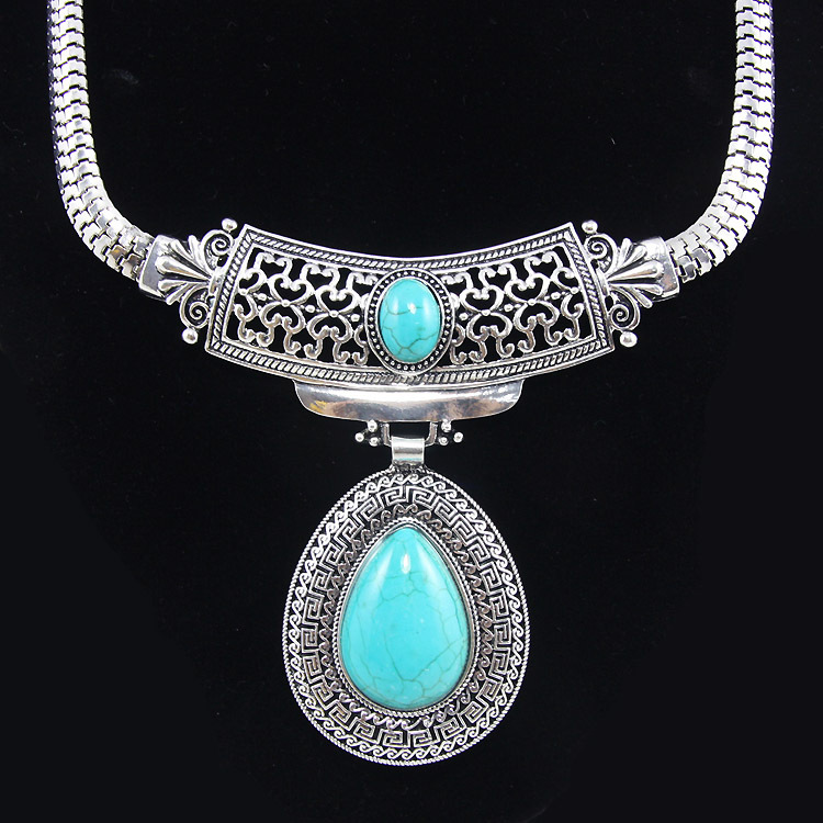 Vintage turquoise stone silver tibetan plated big water drop statement necklaces pendants nigerian african jewlery nke