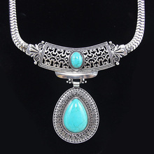 Retail Sale!  Natural turquoise stone silver big statement choker necklaces & pendants vintage tibetan jewelry nke-k98