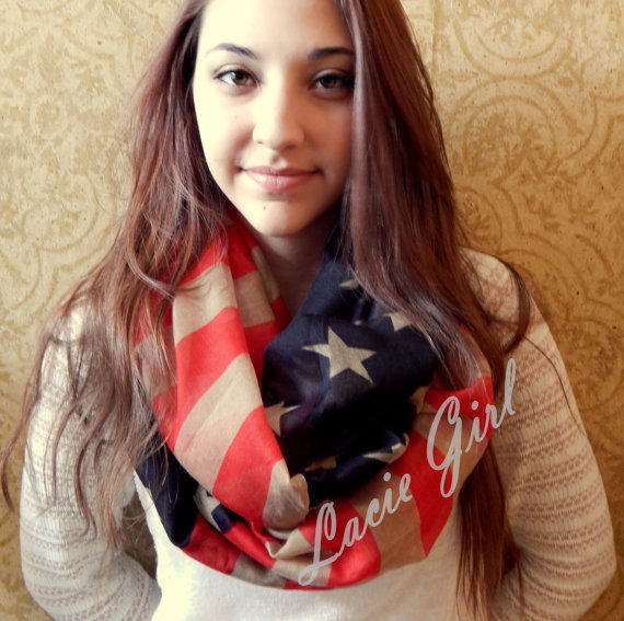 2014 New Fashion American Flag Infinity Scarf Snood USA Scarves For Women /Ladies Free Shipping(China (Mainland))