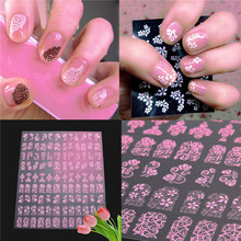 Fashion Brand lady Nail art beauty tools 3D DIY Flower Design Nail Art Stickers Flower Manicure Tips Decals 108pcs pink