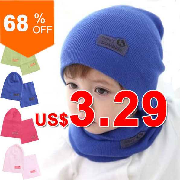 6 Colors! Spring Children Hedging Cap + Scarf Suit Leather Standard Solid Color Candy-Colored Wool Hats Newsboy Caps Baby Hat(China (Mainland))