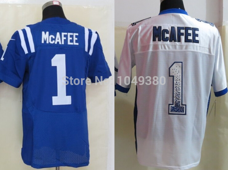 Free Shipping Factory Directly Supply Indianapolis Football Jerseys #1 Pat McAfee Jersey Royal Blue White Color Elite/Game/Limit(China (Mainland))