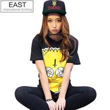 East Knitting 2015 Fashion Simpson Print shirt women cartoon t shirt short Sleeve Couple tops Free Shipping(China (Mainland))