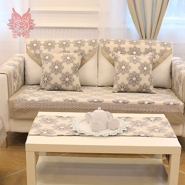 Pastoral Brief floral jacquard Sofa cover with lace patchwork soft plush slipcovers winter canape for top fashion sofaSP1190(China (Mainland))