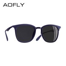 Aofly marca design óculos de sol polarizados vintage óculos de sol de condução liga templo gafas de sol masculino af8120(China)