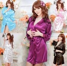 Fashion Sexy Silk Lace Kimono Bathro Dressing Gown Bath Robe Babydoll Lingerie/G-string(China (Mainland))