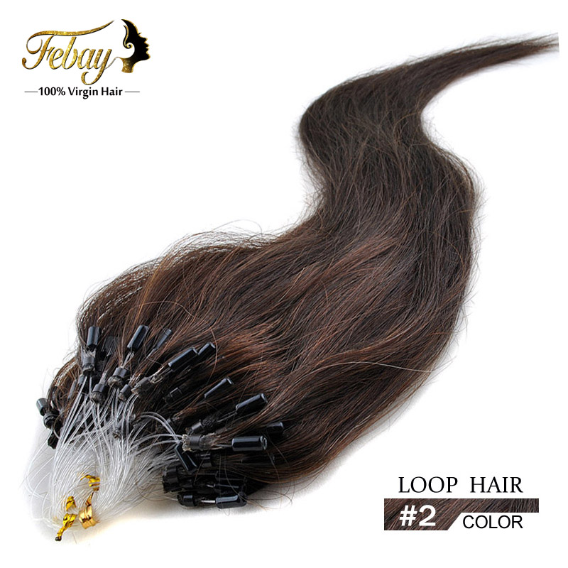 Wholesale brazilian Micro Loop Hair Extension 0.5g/strands 100% remy human hair #2 Dark Brown free shipping