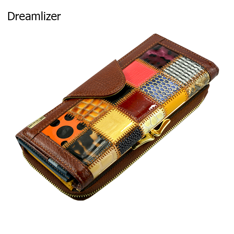 3 Fold Fashion Genuine Leather Women Wallets Patchwork Hasp Coin Pocket Female Clutch Carteira Feminina Women