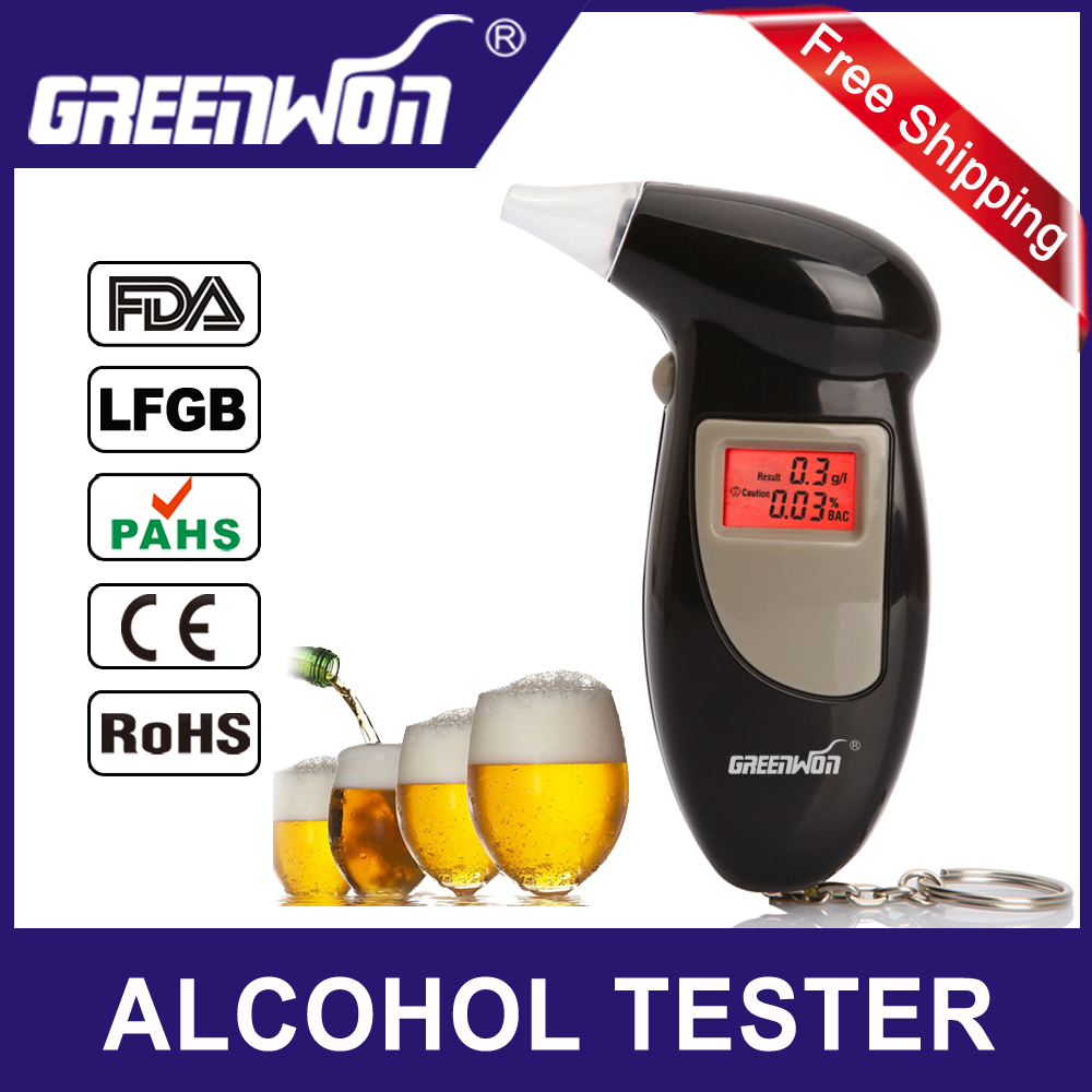 Factory Outlets +5 mouthpiece Digital LCD Backlit Display Key Chain Alcohol Tester Alcohol Breath Analyzer Digital Breathalyzer(China (Mainland))